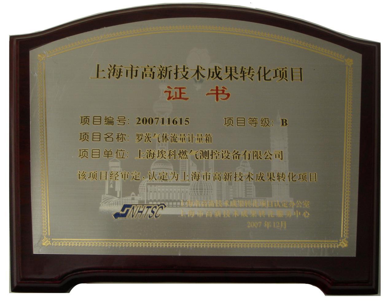 上海市高新技术成果转化项目证书